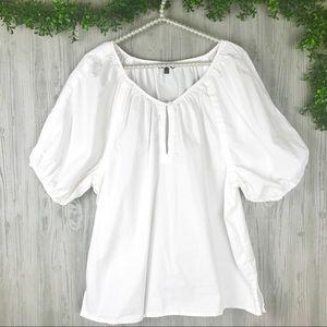 Talbots white keyhole blouse
